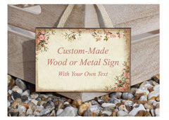 Rustic Roses Shabby Chic Custom- Made Wooden Vintage Sign at Honeymellow