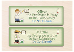 Personalised professor busy in his laboratory.  Do not disturb child's personalised bedroom sign at www.honeymellow.com