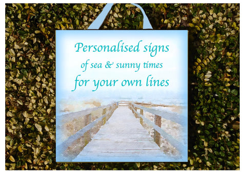 Add Your Own Text to Seascape Sign in Wood or Metal