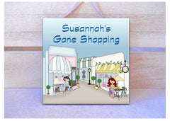 GONE SHOPPING SQUARE SIGN PERSONALISED AT HONEYMELLOW