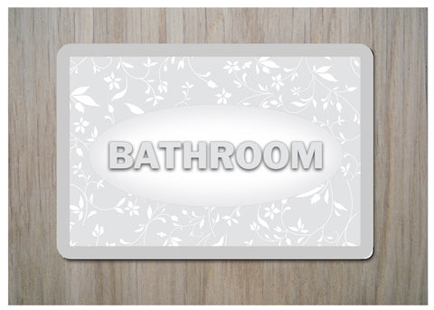 ROOM DOOR SIGNS with ADD YOUR OWN TEXT option: Silver Leaf Design 15x10cm / 6x4""