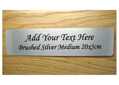Brushed silver blank sign to personalise.  Add your own text to customise at Honeymellow