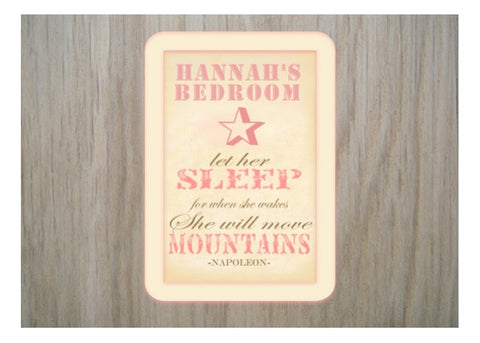 'Let Her Sleep' Personalised Bedroom Sign