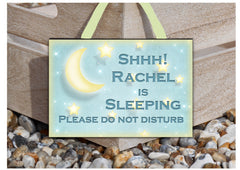 Shh Sleeping! Do Not Disturb Moon and Stars Sign