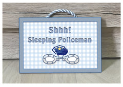 Shh! Policeman Sleeping & Personalised Option - Custom Made Sign at www.honeymellow.com
