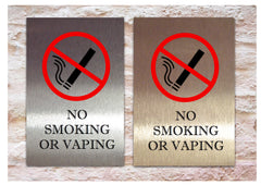 No Smoking or Vaping Signs in Gold Silver or White Metal Custom-Made at www.honeymellow.com