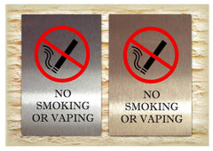 Handmade No Smoking or vaping signs in silver, gold or white aluminium at www.honeymellow.com