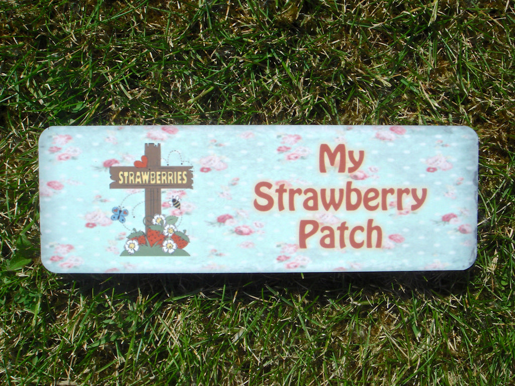 My Strawberry Patch Plus Personalisation, Custom-Made Metal Sign from Honeymellow