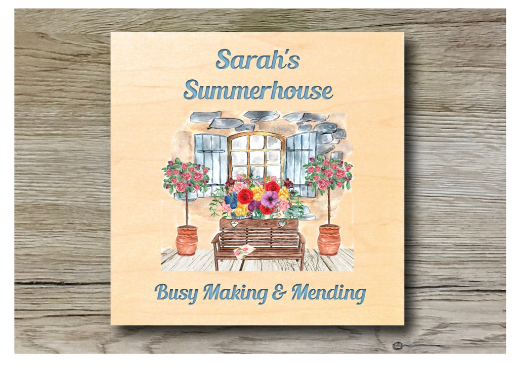 Summerhouse personalised hanging rustic maple wood sign at www.honeymellow.com
