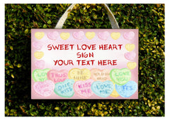 Add your text to blank love heart metal or wood signs: handmade at www.honeymellow.com