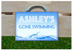 Gone Swimming Bespoke Personalised Metal or Wood Sign Handmade at www.honeymellow.com