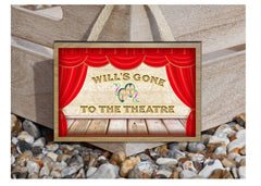 Gone to the Theatre Custom-Made Metal or Wood Hanging Sign at Honeymellow