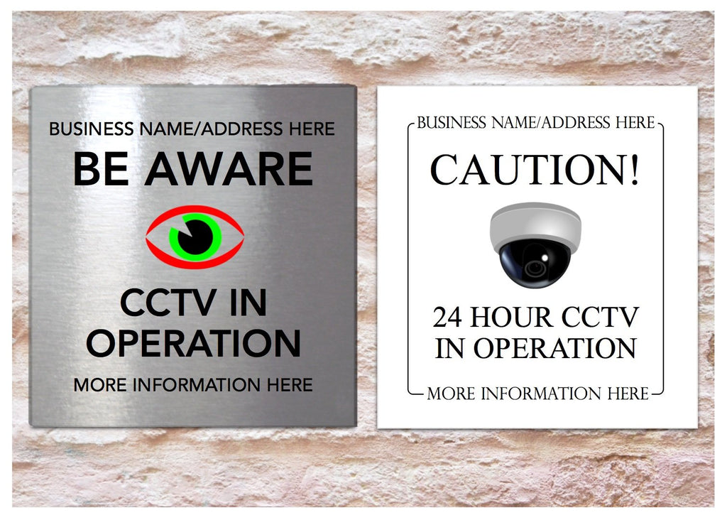 Personalised CCTV Surveilance Sign in Metal.  custom made at www.honeymellow.com