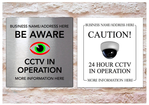 Square CCTV Personalised Silver, Gold or White Metal Surveillance Signs