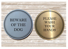 Please ring the bell. No junk mail. No cold callers. Close the door: brushed silver vital sign: custom made at Honeymellow