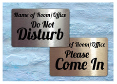 Do Not Disturb / Please Knock Reversible Personalised Hanging Metal Signs for Shops, Restaurants, Business at www.honeymellow.com