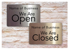 Open and Closed Reversible Personalised Hanging Metal Signs for Shops, Restaurants, Business at www.honeymellow.com