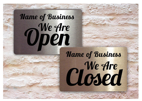 Open and Closed Reversible Hanging Metal Signs in Silver, Gold or White