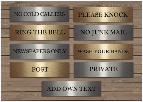 Mini Vital Signs in Silver or Gold: No Cold Callers, Junk Mail, Ring Bell, Knock + Own Text Option