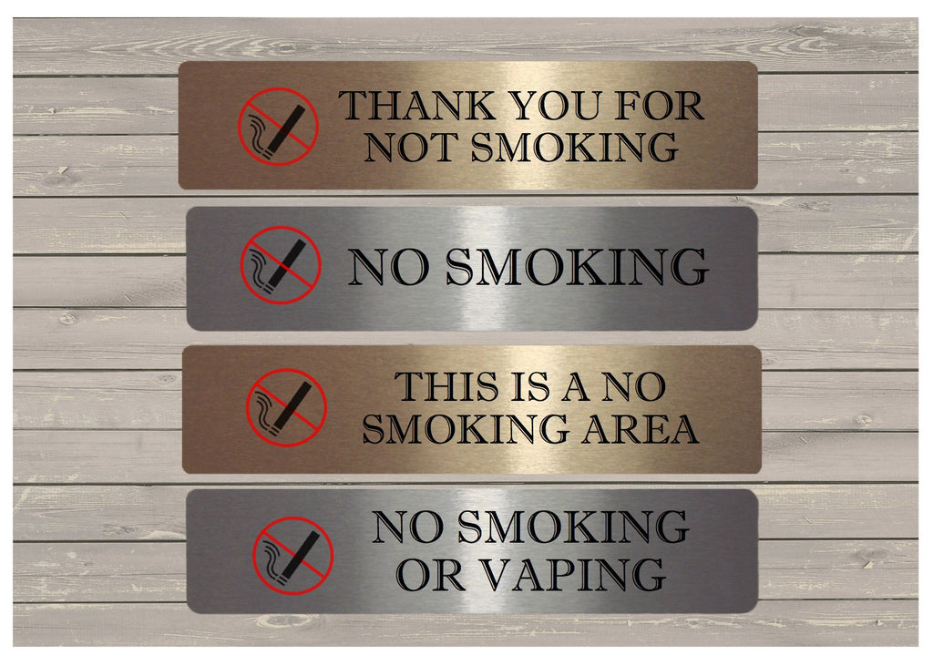 No Smoking or Vaping Metal Signs in White, Silver or Gold at Honeymellow