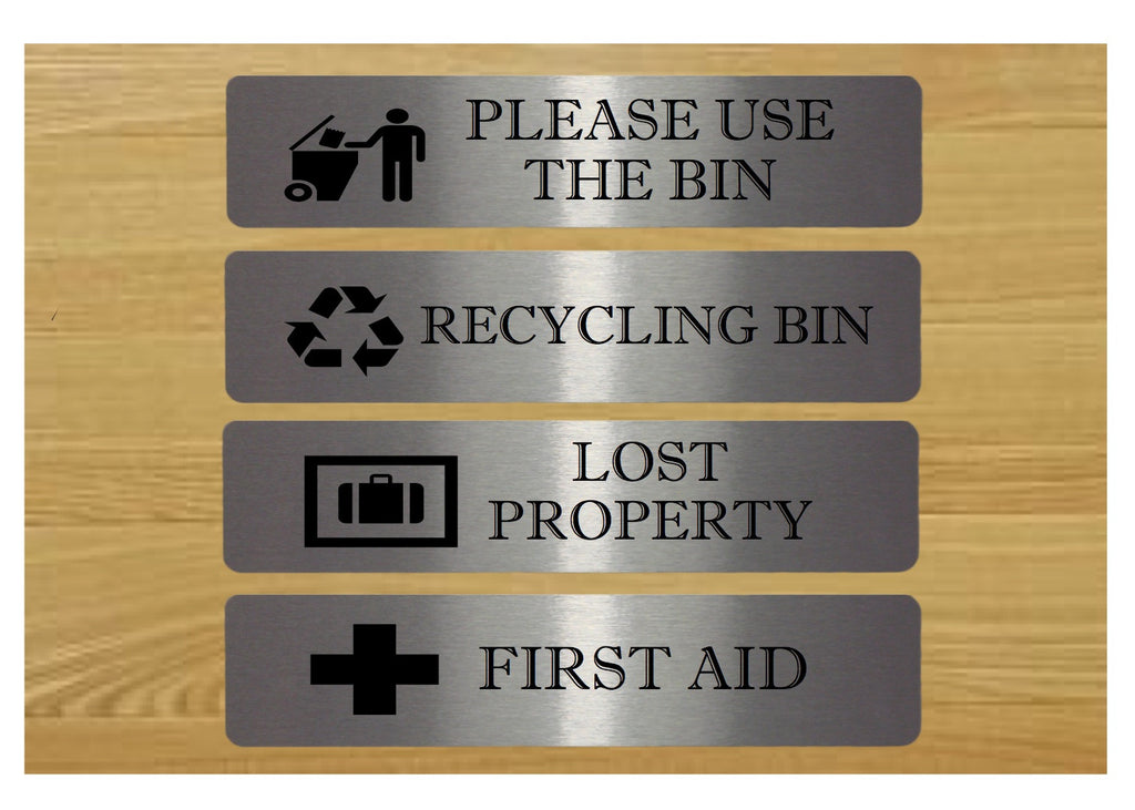 First Aid, Lost Property, Recycling Bin & Use Bins Signs from Honeymellow
