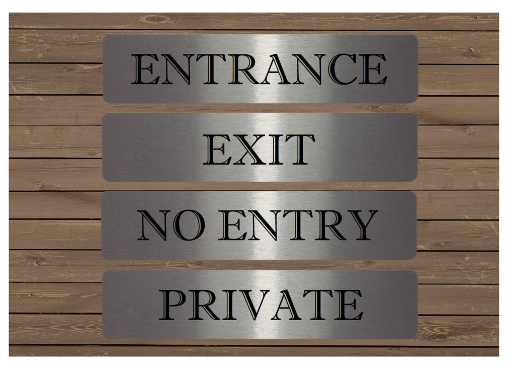 No Entry, Entrance, Exit and Private Metal Vital Signs at Honeymellow