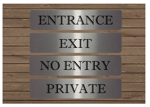 Vital Signs (Large): Entrance, Exit, Private, No Entry - Office or House Signs