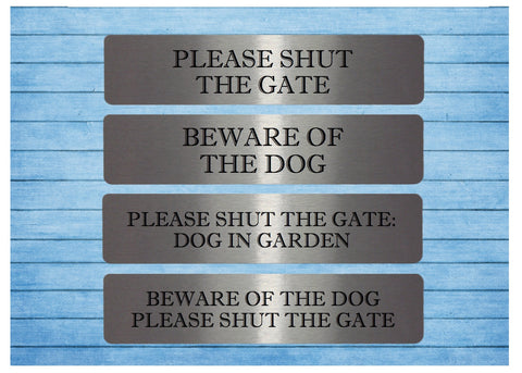 Vital Signs: Shut the Gate & Beware of the Dog Silver Garden Signs