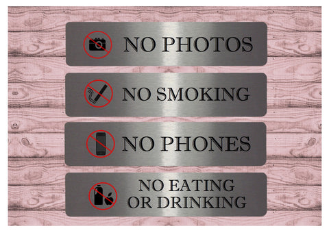 Vital Signs: No Photos, Smoking, Phones or Eating and Drinking Silver Signs