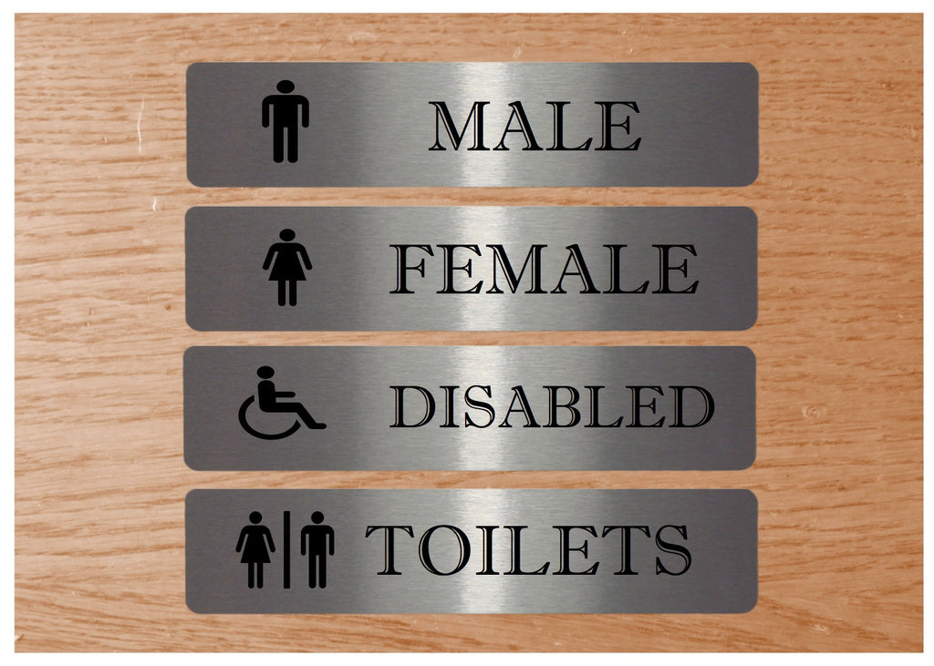 Aluminium toilet signs.  Buy online from Honeymellow