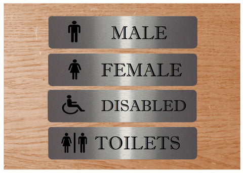 Vital Signs: Male, Female, Disabled Toilet Silver Signs