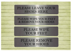 Please remove your shoes brushed silver custom made sign at Honeymellow