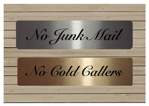 Silver or Gold Elegant Metal Vital Signs: No Cold Callers No Junk Mail