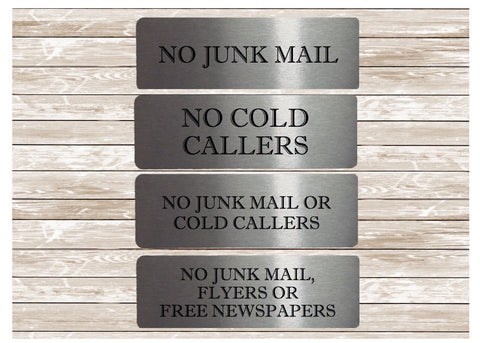 Vital Signs: No Cold Callers No Junk Mail Silver Signs