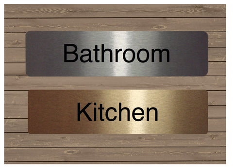 Room Door Signs in Brushed Silver, Gold or White Metal + Own Text Option