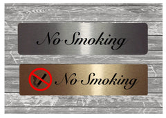 NO SMOKING Sign in brushed silver or gold metal at Honeymellow