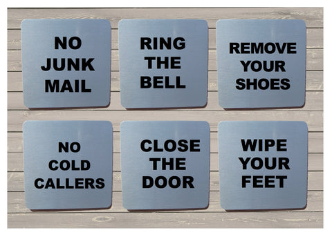 Close Door, Junk Mail, Cold Callers & Ring Bell Silver, Gold or White Vital Signs: SQUARE