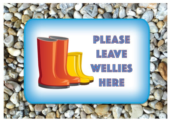 Please Leave Wellies Here Personalised Metal Sign Buy Online at Honeymellow
