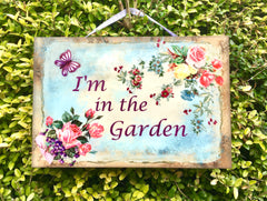 I'm in the Garden Butterfly Rustic Sign  + Add Your Own Text from www.honeymellow.com