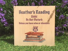 Busy Reading personalised hanging rustic maple wood sign at Honeymellow