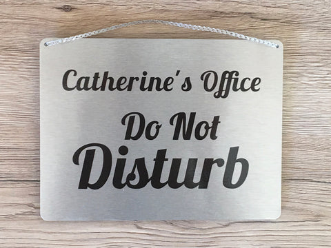 Do Not Disturb, Come In, Please Knock Reversible Hanging Metal Signs in Silver, Gold or White