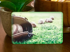 Gone to baseball personalised hanging metal sign at www.honeymellow.com
