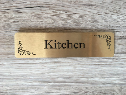 Flourish Room Signs in  Brushed Silver, Gold and White Metal