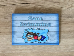 Gone Swimming Large Customised Hanging Sign at Honeymellow.com
