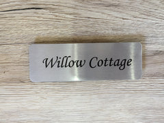 Blank signs to personalise.  Add your text to metal brushed gold, silver or white plaques at www.honeymellow.com