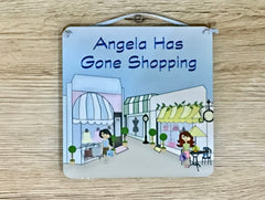 GONE SHOPPING SQUARE SIGN PERSONALISED AT www.honeymellow.com