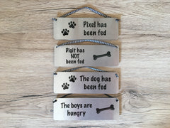 Dog has been fed / not fed reversible sign handmade at www.honeymellow.com