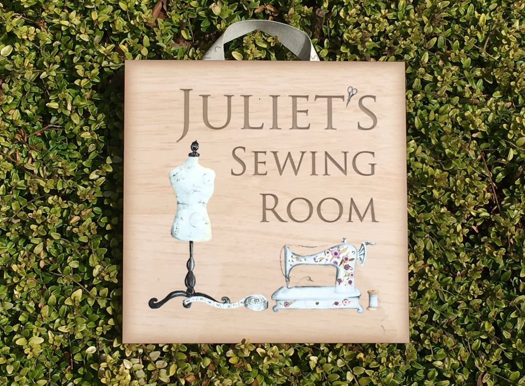 Add text to Craft or Sewing Room Door Sign in Wood or Metal at www.honeymellow.com