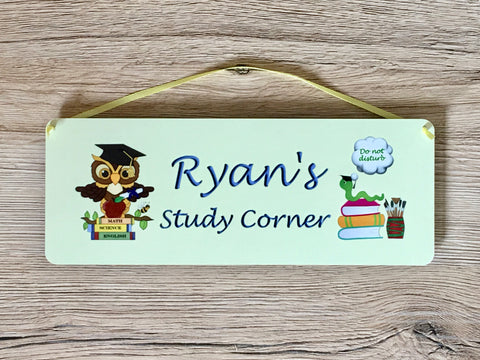 Personalised 'Homework in Progress' Bedroom Door Sign