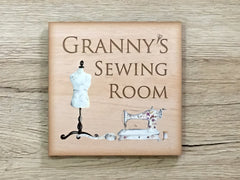 Add text to Craft or Sewing Room Door Sign in Square Wood or Metal at www.honeymellow.com